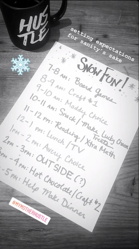 Snow day agenda / schedule for kids